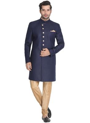 Blue Plain Blended Cotton Indo-Western-Dresses