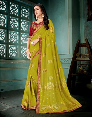 Olive printed art silk saree with blouse