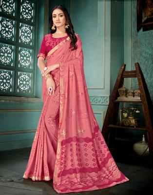 Peach printed art silk saree with blouse