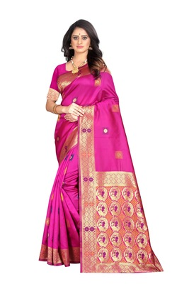 Rani pink woven jacquard saree with blouse