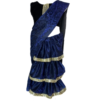 Blue self designed mixed blended with velvet blouse stitched Pre stitched saree