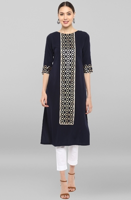 Dark-blue printed crepe kurtas-and-kurtis