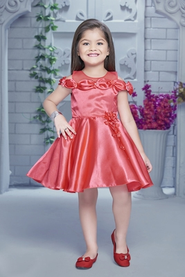 pink embroidered satin kids girl gowns