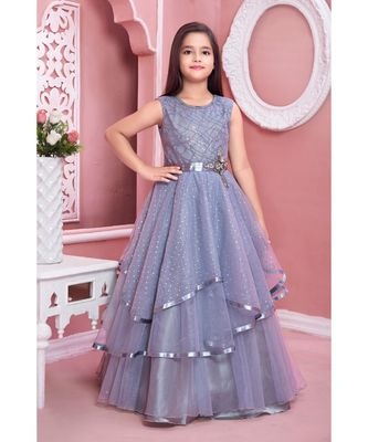 grey embroidered satin kids girl gowns