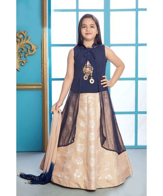 beige embroidered Polyester kids-lehenga-choli