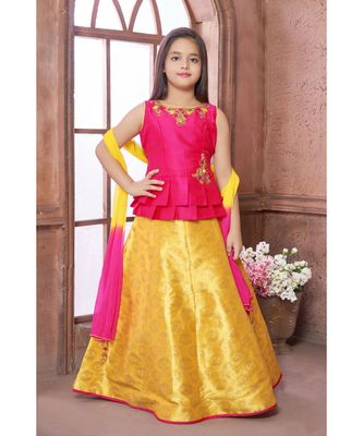 yellow plain Polyester kids-lehenga-choli