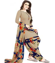 Women'S Beige & Navy Blue Synthetic Printed Unstitch Dress Material With Dupatta