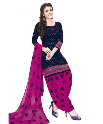 Women's Navy Blue & Rani Synthetic Printed Unstitch Dress Material With Dupatta