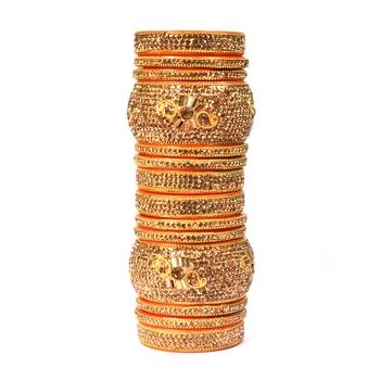 Hyderabadi Bridal Joda, Golden Bangle Set For Women And Girls Stylish 14 Pieces