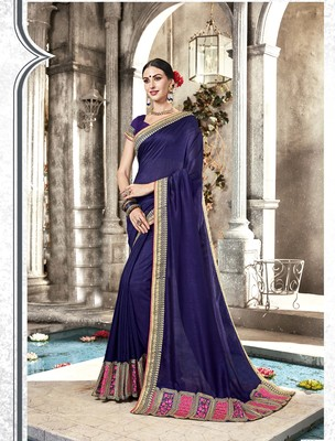 Violet embroidered silk saree with blouse