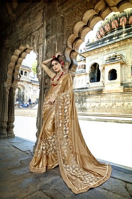 Gold embroidered crepe saree with blouse