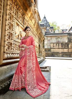 Pink embroidered crepe saree with blouse