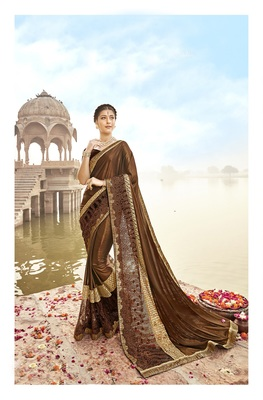 Copper embroidered lycra saree with blouse