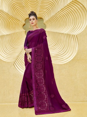 Violet embroidered chiffon saree with blouse