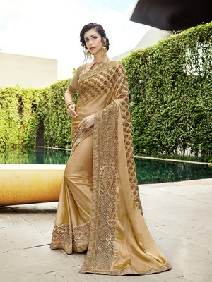 Gold embroidered chiffon saree with blouse