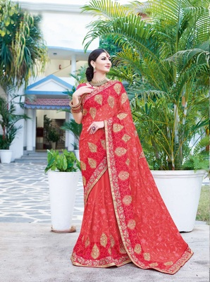 Coral embroidered georgette saree with blouse
