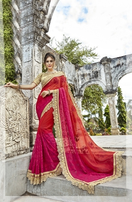 Multicolor embroidered cotton saree with blouse