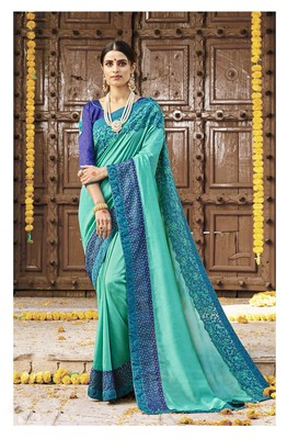 Sea green embroidered silk saree with blouse