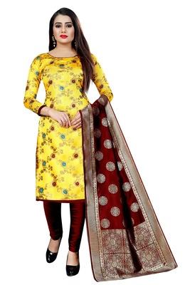 Yellow self design brocade salwar