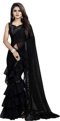 Black Ruffled Saree With Blouse Piece.