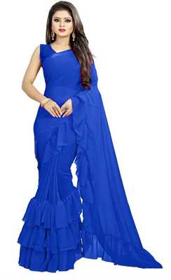 Royal Blue Ruffled Saree With Blouse Piece.
