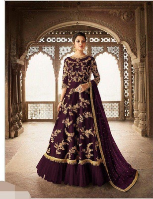 Purple embroidered santoon salwar