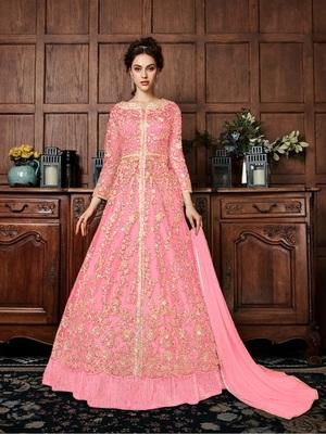 Pink embroidered santoon salwar
