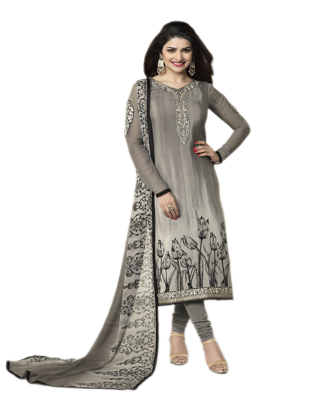 5154a841b2 Grey embroidered Crepe unstitched salwar with dupatta - VinayTM - 432186