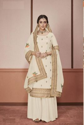 Off-white embroidered silk salwar
