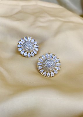 Gold american diamond earrings