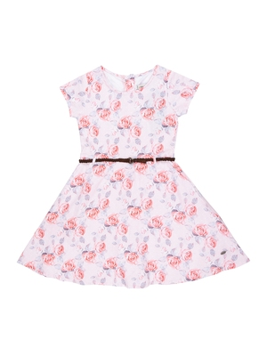 Gini & Jony Pink Printed Lycra Cotton Girls Dress