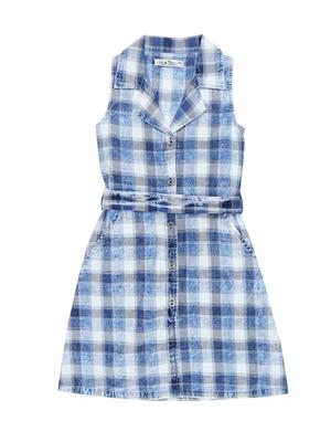 Gini & Jony Blue printed cotton girls dress