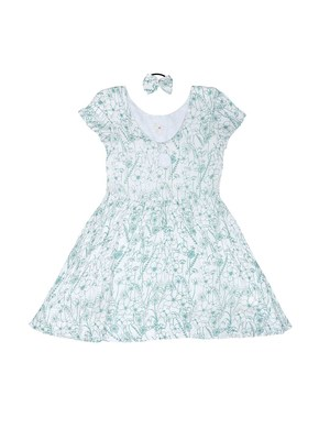 Gini & Jony White printed cotton girls dress