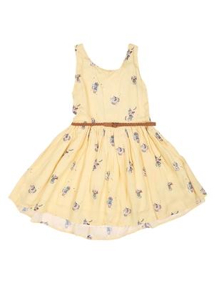 Gini & Jony Yellow Printed Cotton Girls Dress