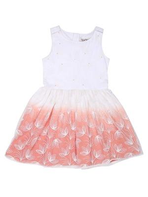 Gini & Jony Orange Plain Cotton Girls Dress