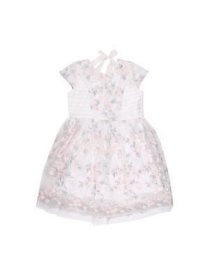Gini & Jony White Plain Polyester Girls Dress