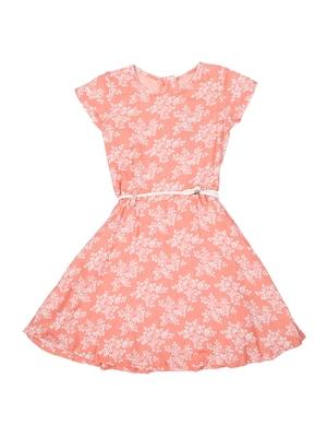 Gini & Jony Pink Printed Cotton Girls Dress