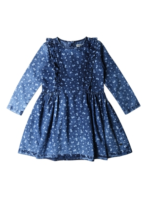 Gini & Jony Blue Printed Cotton Girls Dress