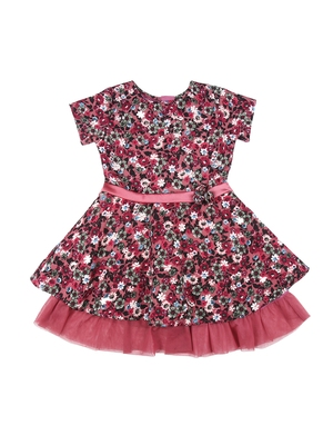 Gini & Jony Purple printed polyester girls dress