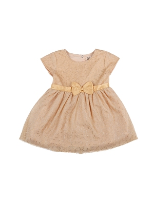 Gini & Jony Gold embroidered cotton girls dress