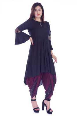 Black embroidered Rayon womens Kurta and Dhoti Pant Set