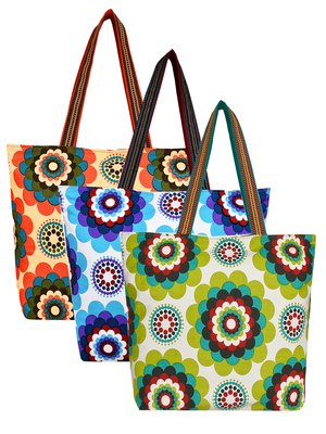 Anekaant Florid Multicolor Printed Canvas Tote Bag Pack Of 3