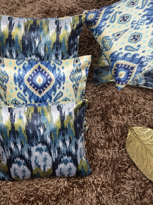 """Ikat Printed Ethnic Reversible Cushion Cover 12""""x12"""" (Set of 5)"""