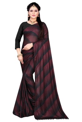 Wine printed lycra saree with blouse