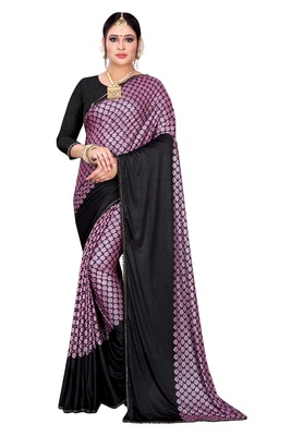Purple printed lycra saree with blouse