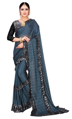 Blue printed lycra saree with blouse