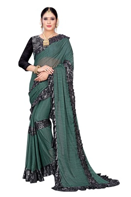 Green printed lycra saree with blouse