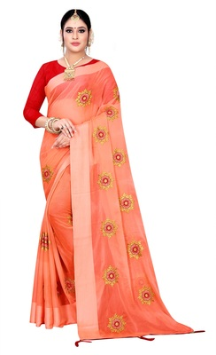 Peach embroidered chiffon saree with blouse