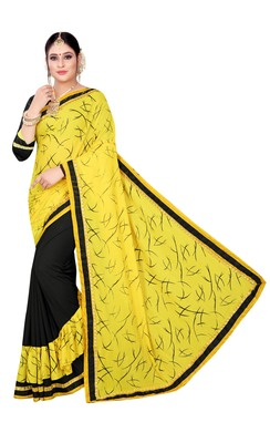 Yellow printed lycra saree with blouse