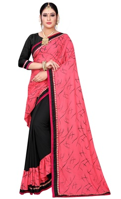 Peach printed lycra saree with blouse